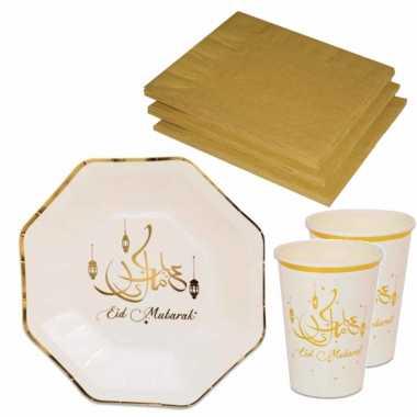Tafel dekken ramadan mubarak feestartikelen wit/goud 8x bordjes/8x drink bekers/20x servetten kopen