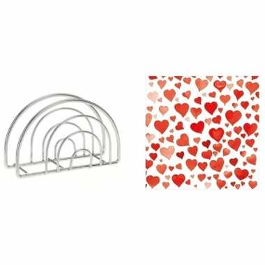 Valentijn tafelversiering hart print servetten in houder kopen