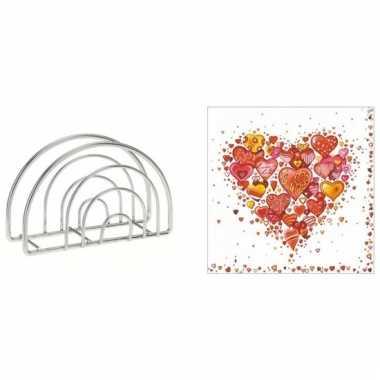 Valentijn tafelversiering harten print servetten in houder kopen