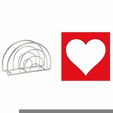 Valentijn tafelversiering rood/witte hart servetten in houder kopen