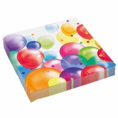 Wegwerpservettenmet feestelijke ballonnenopdruk papier 23cm 20st kope