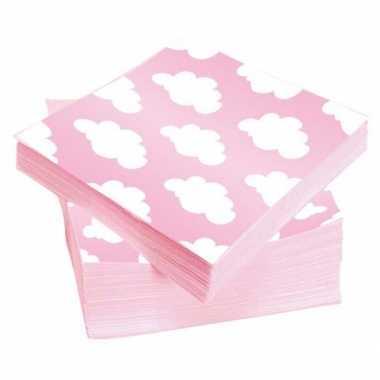 Wolken servetten roze 25 x 25 cm
