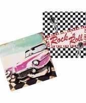 12x rock en roll thema servetten 33cm
