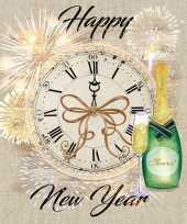 160x happy new year nieuwjaar servetten met klok 33 x 33 cm