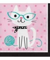 16x thema servetjes katten