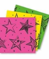 18x papieren servetjes roze groen en geel thema feestartikelen 33 x 33 cm