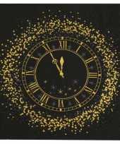 20x oud en nieuw nieuwjaar thema servetten met gouden klok 33 x 33 cm