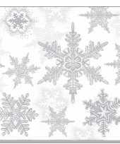 20x servetten winter sneeuwvlokken thema wit zilver 33 x 33 cm