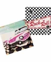 24x rock en roll thema servetten 33cm