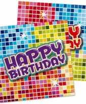 32x papieren servetjes happy birthday thema feestartikelen 25 x 25 cm