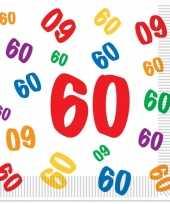 32x stuks 60 jaar thema leeftijd feest servetten 33 x 33 cm