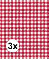 3x pakjes oktoberfest lunchservetten met een ruit print rood wit 3 laags 20 stuks
