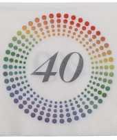40x leeftijd 40 jaar themafeest verjaardag servetten 33 x 33 cm confetti