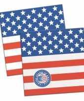 40x papieren servetjes amerikaanse vlag usa thema feestartikelen 25 x 25 cm