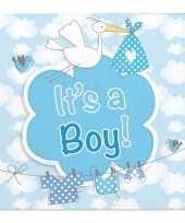 40x papieren servetjes geboorte jongen blauw feestartikelen 25 x 25 cm