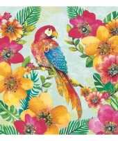 40x servetten papegaaien print 3 laags