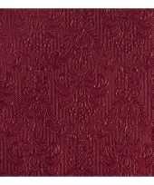 45x luxe servetten barok patroon bordeaux rood 3 laags