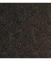 45x luxe servetten barok patroon zwart 3 laags