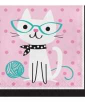 48x thema servetjes katten