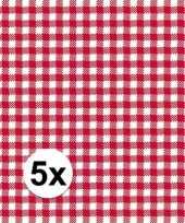 5x pakjes oktoberfest lunchservetten met een ruit print rood wit 3 laags 20 stuks