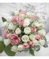 60x bruiloft huwelijk thema servetten bruidsboeket 33 x 33 cm