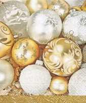 60x gouden kerst servetten met kerstballen