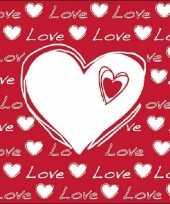 60x hartjes servetten met tekst love wit rood 33 x 33 cm