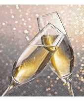 60x kerst servetten met champagne glazen