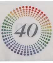 60x leeftijd 40 jaar themafeest verjaardag servetten 33 x 33 cm confetti