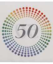 60x leeftijd 50 jaar themafeest verjaardag servetten 33 x 33 cm confetti