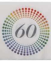 60x leeftijd 60 jaar themafeest verjaardag servetten 33 x 33 cm confetti