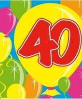 60x papieren servetjes 40 jaar balloons thema feestartikelen 25 x 25 cm