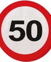 60x papieren servetjes 50 jaar verkeersbord thema feestartikelen 33 cm rond
