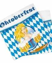 60x papieren servetjes bierfeesten oktoberfest blauw zwart thema feestartikelen 33 x 33 cm