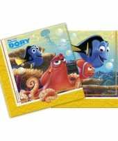 60x papieren servetjes finding dory thema feestartikelen 33 x 33 cm