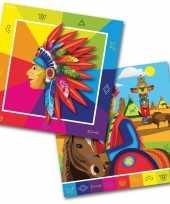 60x papieren servetjes indiaan indianen thema feestartikelen 33 x 33 cm
