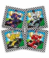 60x papieren servetjes race f1 gekleurd thema feestartikelen 33 x 33 cm
