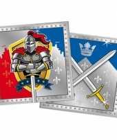 60x papieren servetjes ridder thema feestartikelen 33 x 33 cm