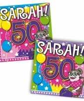 60x papieren servetjes sarah 50 jaar thema feestartikelen 25 x 25 cm