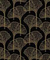 60x zwarte dinerservetten met gouden print 33 x 33 cm versiering decoratie