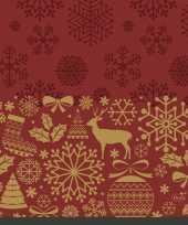 80x kerst servetten donkerrood 33 x 33 cm