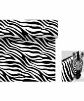 Dieren thema feest servetjes en tafellakens tafelkleden zebra print zwart wit 10153931
