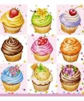 Feest servetten cupcakes 3 laags 20 stuks
