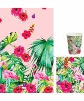 Hawaii thema feest bekers servetjes en tafellaken roze groen