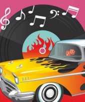 Klassieke rock and roll servetten van papier 16 stuks