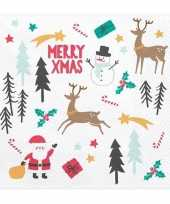 Merry x mas kerst servetten 20 stuks 33 cm