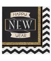 Oud en nieuw servetten happy new year 16 stuks 10099235
