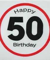 Servetten 50 jaar geworden 20 stuks verkeersbord