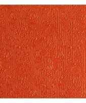 Servetten oranje barok 3 laags 15 stuks